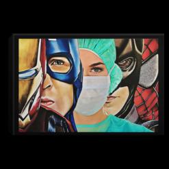 Iron Man Captain Batman SpiderMan Nurse Poster Canvas