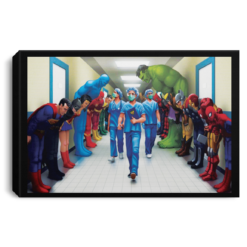 Superheroes Bowing to Doctors poster canvas